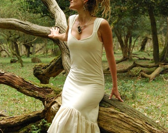 Rustic wedding dress, Fairy bridal clothing Cream dresses, Goddess clothes, Organic wear for women, Earthy style, Boho fashion Natural chic