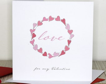Valentine's card - Heart wreath, Love for my Valentine