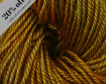 "50g Hand-Dyed ""Yak of Luxury"" Yak/Silk/Superwash Merino yarn skein in Double-Knit (DK,) 4ply/Sport and Lace in Spun Gold"