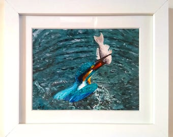 ORIGINAL PAINTING || framed kingfisher painting. Acrylic painting, framed fine art, white frame, water painting, wildlife painting