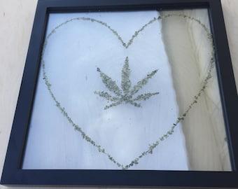 High heart - cannabis inspired, cannabis decorations, cannabis wall art, cannabis flower
