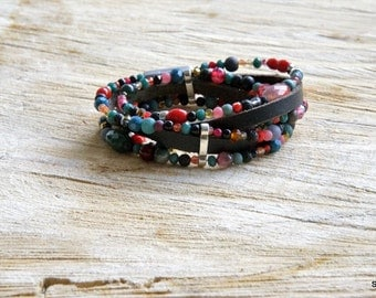 Bracelet of beads and leather