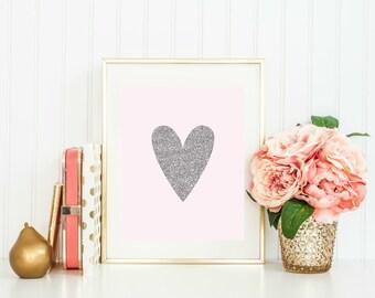 Pink Nursery Decor, Pink Nursery Print, Heart Nursery Decor, Heart Nursery Decor, Glitter Nursery Prints, Nursery Printables, Nursery Wall