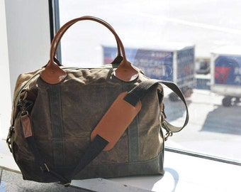 Monogrammed Waxed Canvas Weekender Bag with Genuine Leather Handles and Brass Hardware