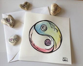 Ying and Yang Watercolour Card // Unique Watercolour Card // Tai Chi Card // Kung Foo Card // Meditation // Yoga card // Martial arts card