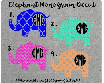 Patterned Elephant Monogram Decal, Car Decal, Yeti Decal, Tumbler Decal