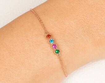 Personalized Birthstone Bracelet, Mothers Bracelet, Gift For Her, Custom Bracelet, Rose Gold Bracelet, Charm Bracelet, Friendship Bracelet