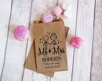 Mr and Mrs personalised wedding sweet bags, custom sweetie bags, wedding favour bags, kraft brown wedding favour bags, custom treat bags