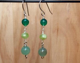Green Trio Earrings