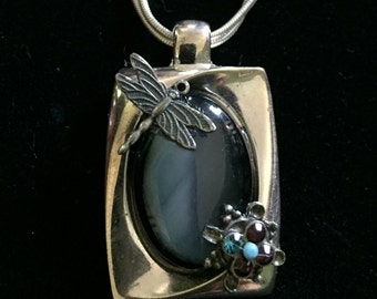 Silver dragonfly blue gem necklace