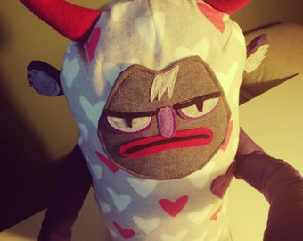"MADE TO ORDER xxl 39"" Stuffed devil. Grumpy devil plushie. Weird stuffed animal. Large stuffed animal. Grumpy plushy."
