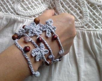 Unique Hippy / Boho Style Crochet Bracelet.