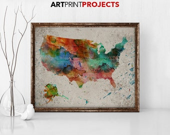 Usa Map Watercolor Etsy - Large us road map poster