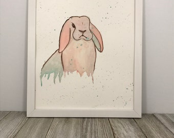 Pink Rabbit, Watercolor Painting, Original Art, 8x10