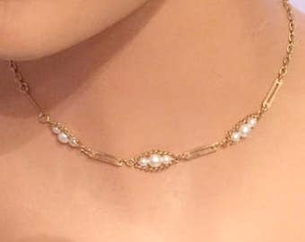 Sarah Coventry Goldtone  and Faux Pearl Trio Choker