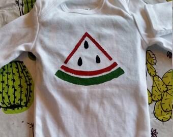 0-3 Watermelon Long Sleeve Onesie
