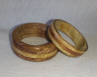 Mahogany and light Burl Bentwood Ring set