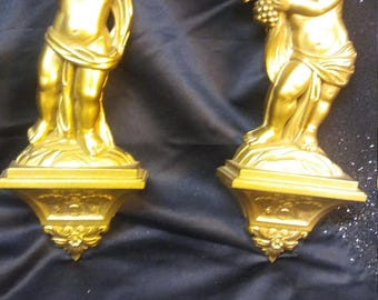 New Vintage set of 2 Gold Plastic Cherubs with Fruit Wall Decor Suroco's