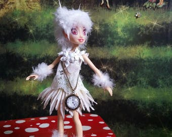 Ooak alice in wonderland  white  rabbit mad hatter fairy faerie pixie elf sprite fantasy magic repaint collectable art doll
