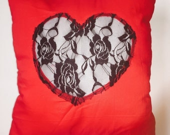 Red Laced Silhouette Pillow