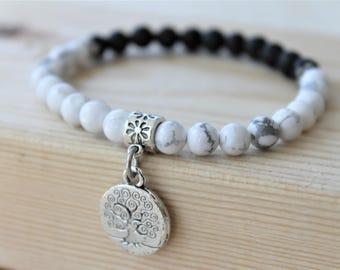 SLEEP WELL bracelet, howlite diffuser bracelet, howlite bracelet, natural stone bracelet, charm bracelet, beaded bracelet, natural beads