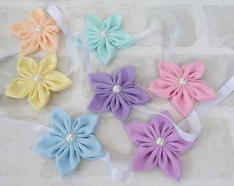 Flower garland - Flower bunting - nursery decor - girls bedroom decor - wall hanging - handmade pastel flower bunting - garland - bunting
