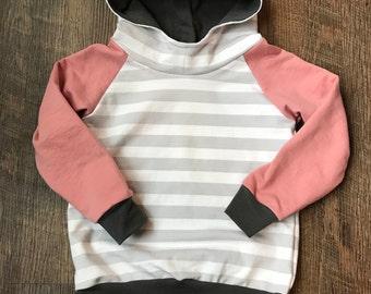 Toddler girl hooded sweatshirt/Children's clothing/french terry knit/baby shirt/baby girl sweatshirt