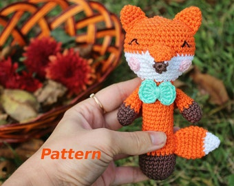 Fox Rattle Pattern Crochet Baby Rattle Crochet Rattle Toy PDF Pattern Infant Rattle Teether Pattern Crochet Pattern