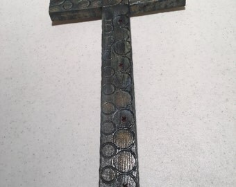 Handmade wooden cross painted and distressed