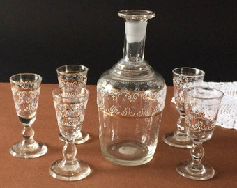 Vintage French 1800's blown glass set, enameled decanter carafe, 5 matching liqueur glasses, French Vintage shabby chic dining barware