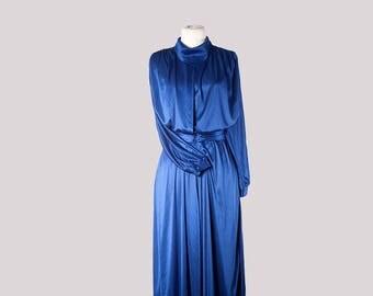 Vintage dress•Night Dress•Blue Dress•designer clothing•Turtleneck dress•Long sleeve dress•Vintage clothing•Elegant dress•womens clothing