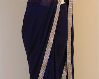 Navy Blue Georgette saree with silver sparkling border