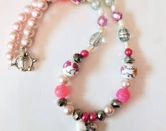 Pink Porcelain Style Painted Heart Pendant and Faux Pearl Bead Necklace, Silver Beaded Jewelry with Pink and Silver Glass and Acrylic Beads