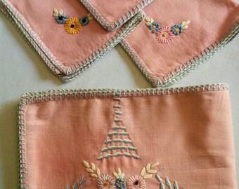 Vintage Card Table Embroidered Linen Set
