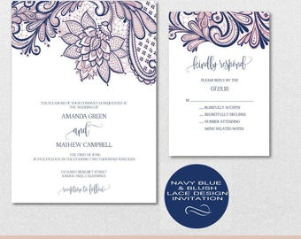 Navy Blue Lace Wedding Invitation Template, Blush Pink Wedding Invitation, Wedding Invite, Wedding Template,PDF Instant Download | VRD148AN