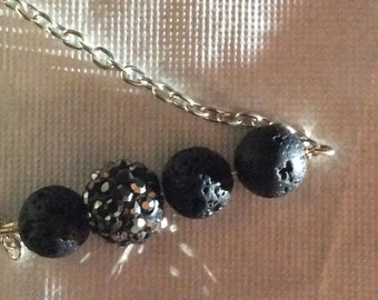 """24"""" oil diffuser necklace on silver colored chain with crystals"""