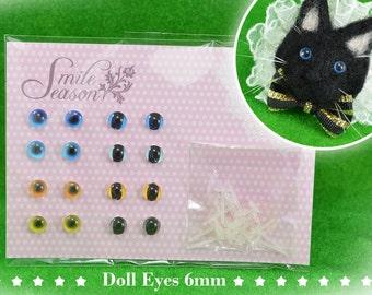 Free shipping - Hand Made 6mm Doll Eyes - Set No.2  By SmileSeason.Macy (free shipping) lati white bjd woolfelt handmade doll