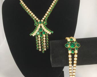 Sparkly 1960's necklace & bracelet.... emerald green/clear rhinestones