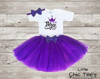 3rd Birthday Purple Outfit, Third Birthday Outfit, Third birthday purple outfit, Purple Tutu Outfit, Third Birthday, Purple birthday