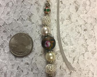 Silver & Pearl Bookmark, Hook Bookmark, Beautiful Bookmark, Gift for Mom, Gift for Her, Party Favor, Stocking Stuffer