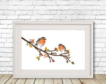 Watercolour Robin Branch Print, Illustration, Wall Art, Drawing, A4, A5