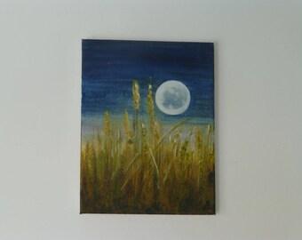 Original haunting contemporary acrylic painting, signed.  Midnight cornfield.