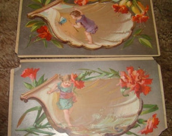 2 Pieces of Victorian Scrap (Children Playing in Seashells)