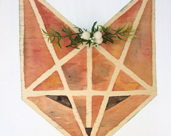 Geometric Fox Watercolor Wood Sign