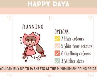 Cute Running stickers, Fitness stickers, Cute planner sticker, Kawaii running Sticker, Workout Planner Stickers, Kawaii girl sticker (MD006)