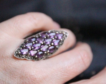 Absolutely stunning marcasite and amethyst statement dress ring