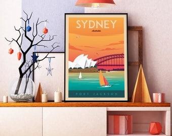 Sydney Australia - Opera House Vintage Travel Poster, vintage print, art murale, décoration d'intérieur, décoration murale, idée cadeau
