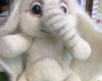Felt doll - Felted animals - Collectible dolls - Unique toys - Soft sculpture - Felt toys - Hand made toys - Elephant-Needle felted animal