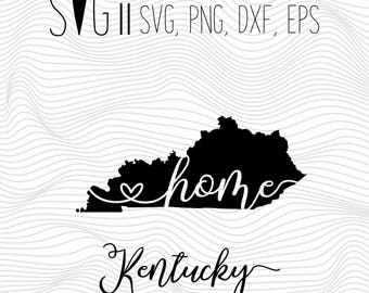 Kentucky Home Svg, State Svg, Font Svg Files For Silhouette For Cricut, SVG EPS PNG Dxf Vector Cutting Files Vinyl Decal, Monogram Svg