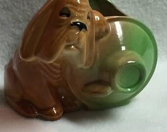 Shawnee Pottery Hound Dog with Whiskey Barrel Garden Planter (#006)